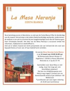 Lunch en netwerken Mesa Naranja costa banca